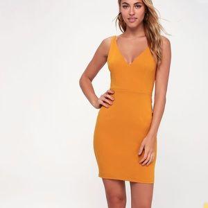Lulus Mustard Yellow Bodycon Mini Dress Size Small